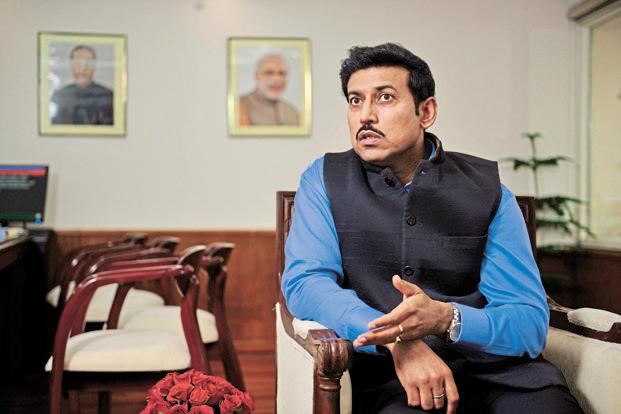 Minister of state for information and broadcasting Rajyavardhan Singh Rathore. Photo: Pradeep Gaur/Mint