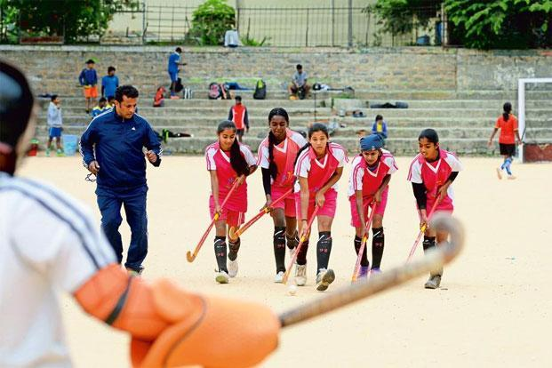 Jude Felix training the girls from his academy in Bengaluru. Photo: Hemant Mishra/Mint