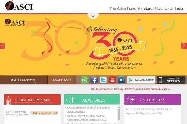 A screen grab of self-regulatory body Advertising Standards Council of India.