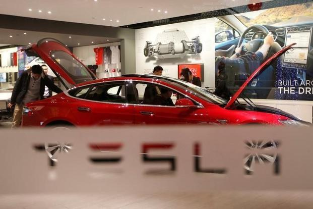 A file photo of Tesla Motors' Model S P85 at its showroom in Beijing. Photo: Reuters