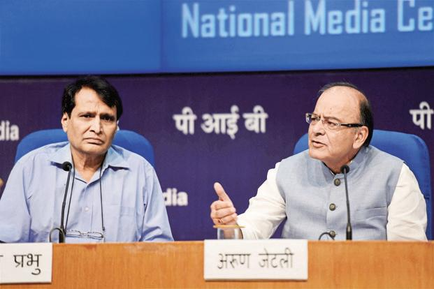 Railway minister Suresh Prabhu (left) with finance minister Arun Jaitley in New Delhi on Wednesday. Photo: PTI