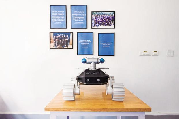 The lunar rover prototype at TeamIndus headquarters in Bengaluru.