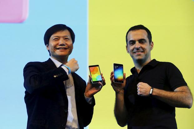 Xiaomi's founder and CEO, Lei Jun (L), and Hugo Barra, Xiaomi's vice president of international operations, during the launch of the Mi 4i phone in New Delhi last year. Photo: Reuters