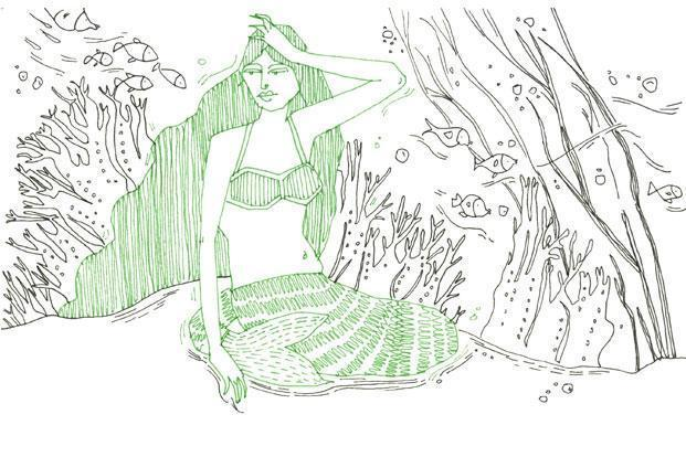 Radhika Sivsankar's illustration of Kaur's poem, 'Seven things no one told you about sitting by the sea'