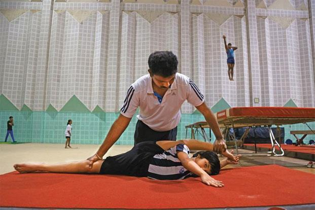 A scene from a training session at the Saroornagar Indoor Stadium in Hyderabad. Photo: Kumar/Mint