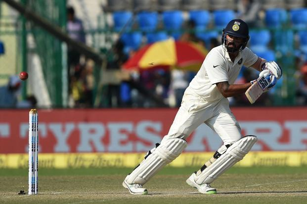 Murali Vijay plays a shot during the third day of the first test match between India and New Zealand at Green Park in Kanpur. Photo: AFP