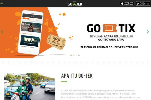 A screen grab of Go-Jek website