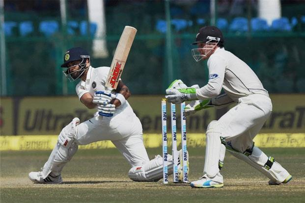 Virat Kohli batting during the first Test against New Zealand in Kanpur. Photo: Atul Yadav/PTI