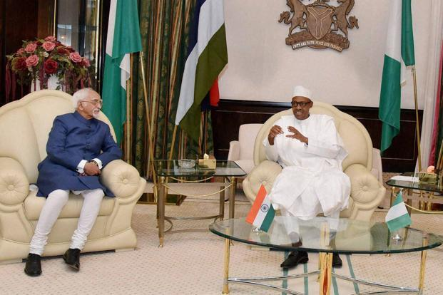 Vice President M Hamid Ansari meeting Nigerian president, Muhammadu Buhari, at the State House in Abuja on Tuesday. Photo: PTI