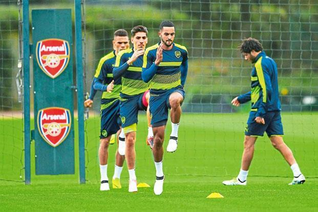 An Arsenal training session at London Colney. Photo: Mike Hewitt/Getty Images