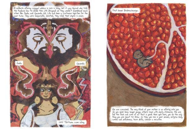 Pages from Amruta Patil's new graphic book, 'Sauptik'.