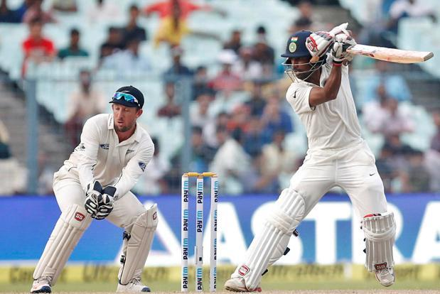 Wriddhiman Saha plays a shot on the third day of the second Test between India and New Zealand in Kolkata. Photo: Reuters