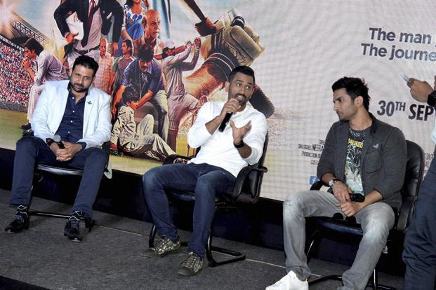 A file photo of cricketer Mahendra Singh Dhoni along with actor Sushant Singh Rajput during promotion of the film 'MS Dhoni: The Untold Story' in Ranchi. Photo: PTI