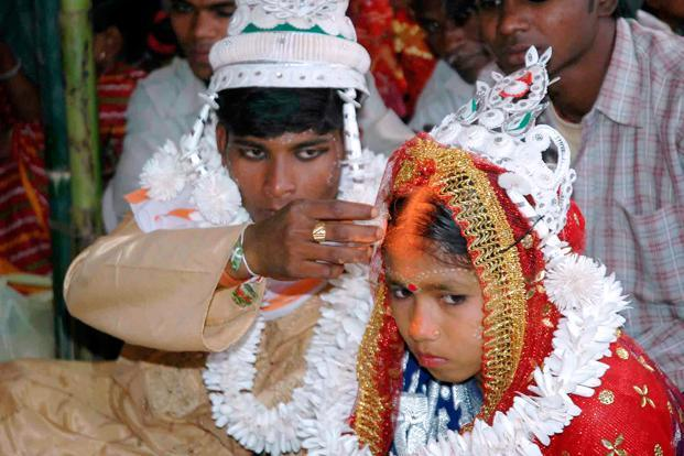 Rajasthan had the worst record of 27.5% men in 2012-13 married below the age of 21 years. Photo: AFP