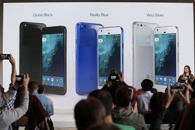 Sabrina Ellis, Director of Product Management at Google, speaks about the new Pixel phone during the presentation of new Google hardware in San Francisco on Tuesday. Photo: Reuters