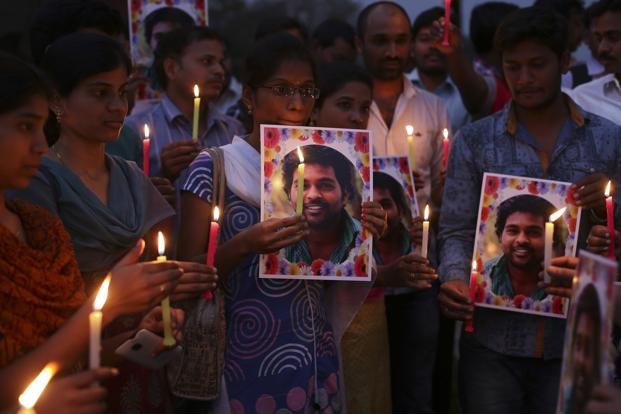 A file photo of activists protesting the death of Rohith Vemula. Photo: AP