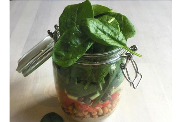 Spiced Chickpea Salad In a Jar. Photo: Pamela Timms