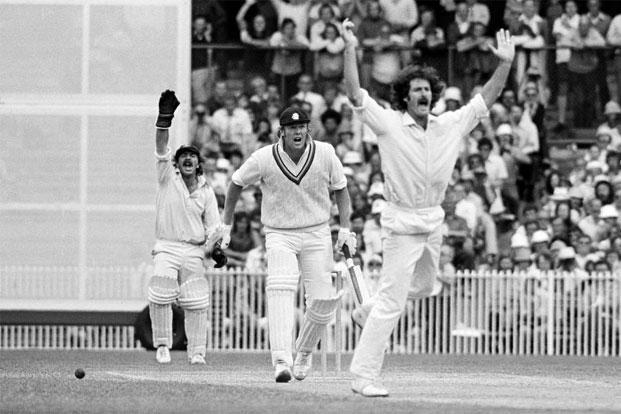Dennis Lillee of Australia appeals for LBW against Tony Greig of England, 1974. Photo: Patrick Eagar/Popperfoto/Getty Images