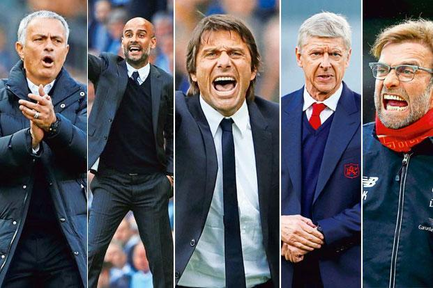 José Mourinho, Pep Guardiola, Antonio Conte, Arsène Wenger and Jürgen Klopp (left to right)