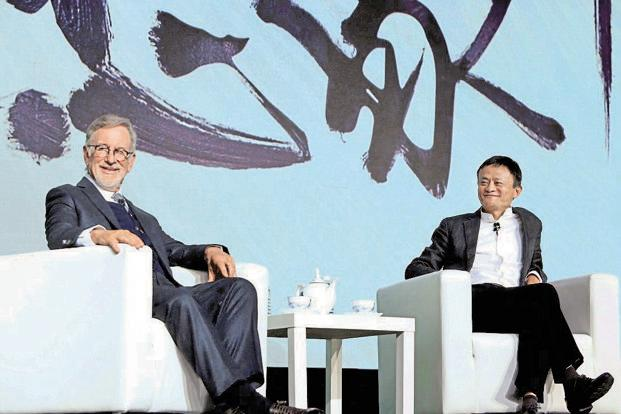 Hollywood filmmaker Steven Spielberg with Jack Ma, founder of Alibaba, during the signing of the agreement between Amblin Partners and Alibaba Pictures Group Limited to co-produce and finance films for global and Chinese film markets in Beijing on Sunday. Photo: PTI