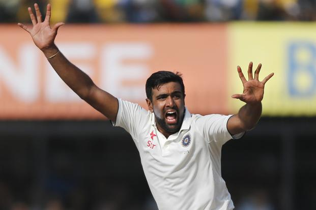 Indian bowler Ravichandran Ashwin celebrates the wicket of New Zealand's batsman James Neesham during the third day of the third test cricket match between India and New Zealand in Indore on Monday. Photo: AP