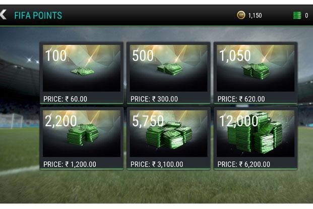 A basic coin pack costs Rs 60 while the biggest pack is priced at Rs6,200