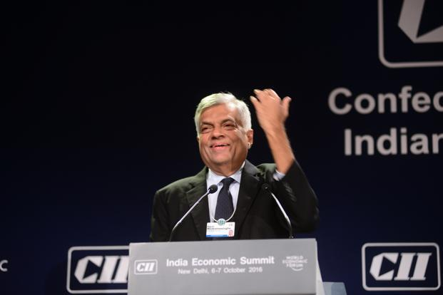 Sri Lankan prime minister Ranil Wickremesinghe gestures while speaking during the India Economic Summit  organized by  the World Economic Forum in New Delhi on 6 October. Photo: Ramesh Pathania/Mint