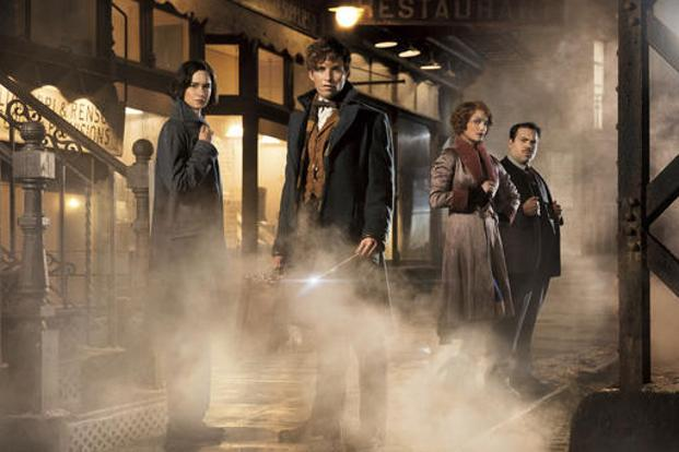 (From left) Katherine Waterston, Eddie Redmayne, Alison Sudol and Dan Folger in a scene from 'Fantastic Beasts and Where to Find Them'. Photo: AP