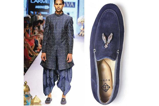 Shaded 'bandi' with printed shirt by Dev R Nil; and (right) suede loafers.