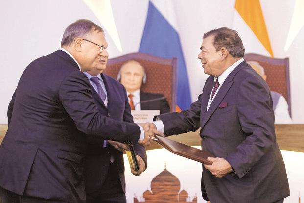 (From left) Russia bank VTB CEO Andrei Kostin, Rosneft CEO Igor Sechin with Essar Group vice-chairman Ravi Ruia at India-Russia Annual Summit in Goa on Saturday. Photo: Reuters