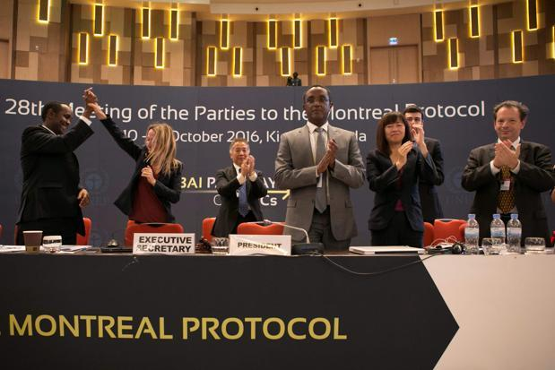 Nearly 150 nations struck a global agreement,  an amendment to the 1987 Montreal Protocol, to phase down hydrofluorocarbon (HFC) gases in Kigali, Rwanda, on Saturday. Photo: AFP