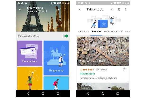 Google trips serves as a multi-purpose travel assistant by helping users find new places, organise a trip and act as a guide once they are at the destination.