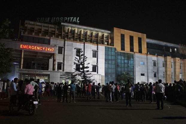 As many as 106 persons, who were shifted from Sum Hospital following the blaze, are now undergoing treatment at different hospitals in the city. Photo: AP