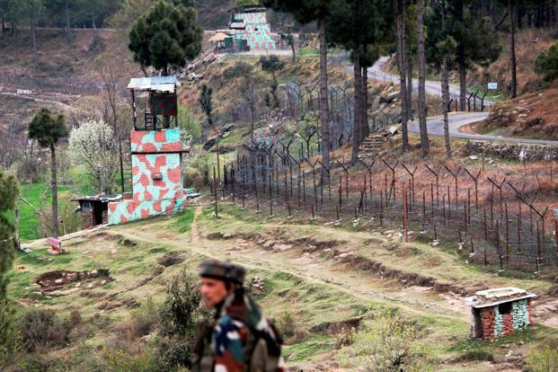 A view of an Indian border post near fencing along the Line of Control (LoC) in Balakot Sector in Poonch on Sunday. Photo: PTI