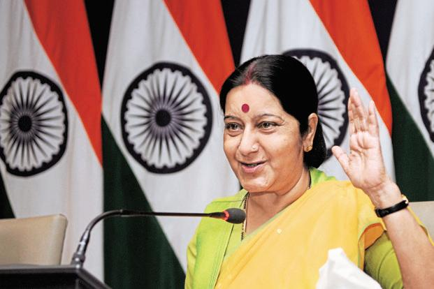 Though she did not name Pakistan, it was clear that Swaraj's message was aimed at India's western neighbour whom India blames for terrorist attacks in Indian-administered Kashmir and other parts of the country. Photo: HT