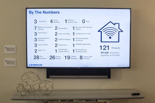 A television displays smart features inside a home at the Lennar Corp. Marina Shores development in Alameda, California. Photo: David Paul Morris/Bloomberg