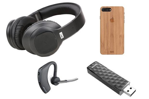 Plantronics Voyager Legend, Altec Lansing MZW300, Phone 7 Plus case by Daily Objects and Sandisk Connect Wireless Stick (clockwise from left  bottom).