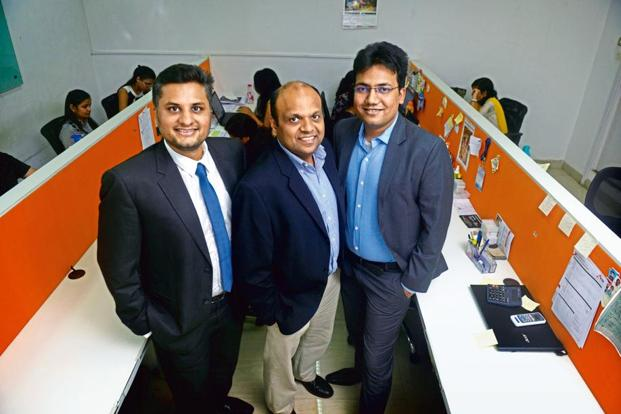 Mumbai-based start-up FTcash was co-founded by (from left) Vaibhav Lodha, Sanjeev Chadhak and Deepak Kothari in 2015. Photo: Abhijit Bhatlekar/Mint
