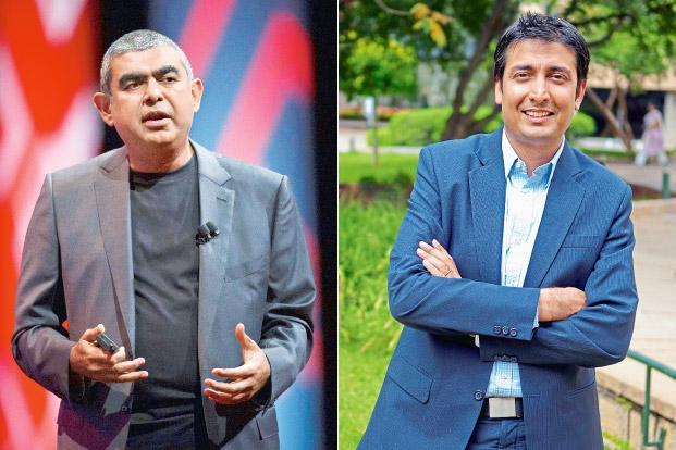 Infosys CEO Vishal Sikka (left) and Rishad Premji, chief strategy officer at Wipro. Photographs by Bloomberg and Mint