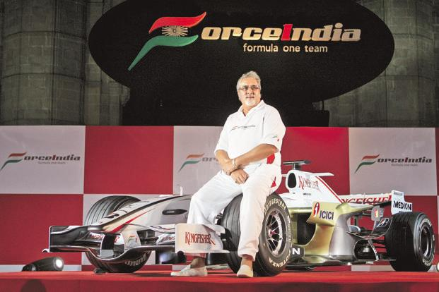 A file photo of co-owner and principal of Force India, Vijay Mallya. Photo: AFP