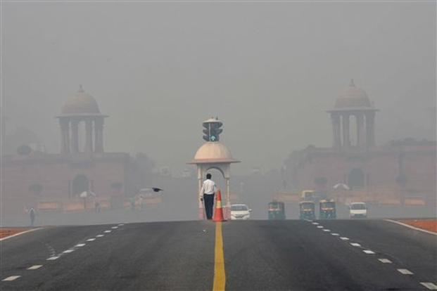 The Rashtrapati Bhavan and Rajpath in Delhi, a day after Diwali on Monday. Photo: AP
