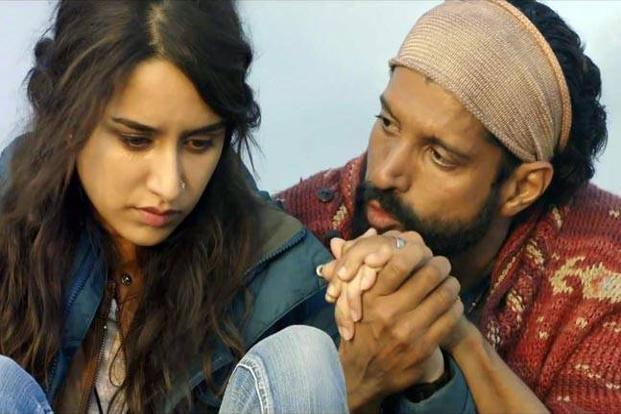 Farhan Akhtar (right) and Shraddha Kapoor in a still from 'Rock On 2'.