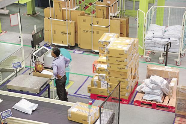 A file photo of an Amazon India warehouse in Sonipat, Haryana. Photo: Ramesh Pathania/Mint