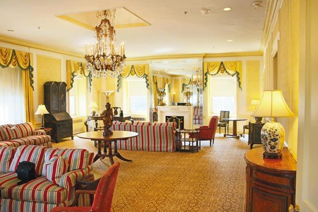 Living room of the prince's house in the Waldorf Astoria NewYork hotel. Photographs by Alok Singh