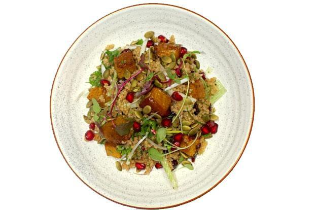 The Clearing House quinoa salad with maple roasted pumpkin.