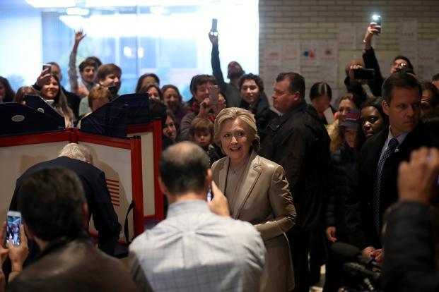 Democratic US presidential nominee Hillary Clinton casts her vote in New York on Tuesday. Photo: AFP