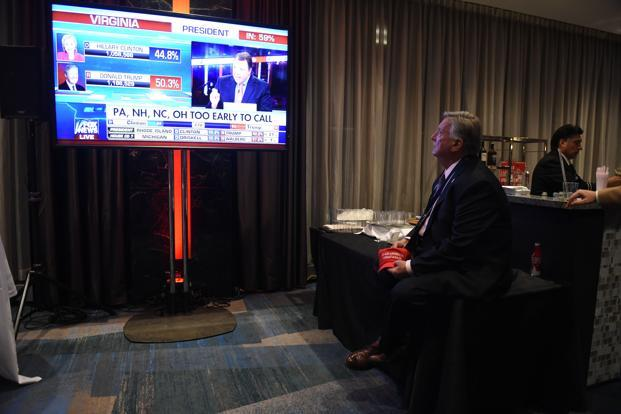 Supporters of Republican presidential nominee Donald Trump watch news reports as results come in during election night at the New York Hilton Midtown in New York on Tuesday. Photo: AFP