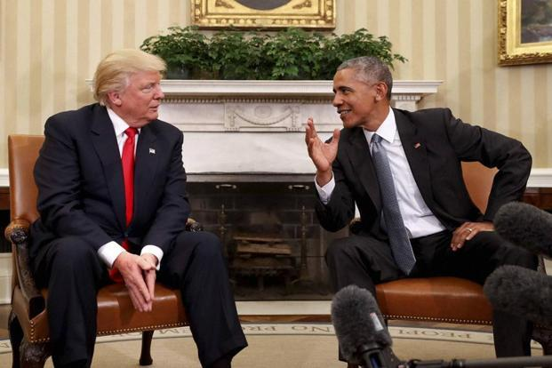"President-elect Donald Trump meets Barack Obama. As a presidential candidate, Donald Trump railed against the press as ""disgusting"" and ""dishonest"". Photo: AP"
