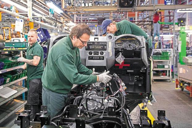 Jaguar Land Rover's factory in Solihull, UK. Tata Motors said that higher sales volume at JLR was offset by the realized hedging losses of Rs3,510 crore, following the UK's decision to leave the European Union. Photo: Bloomberg