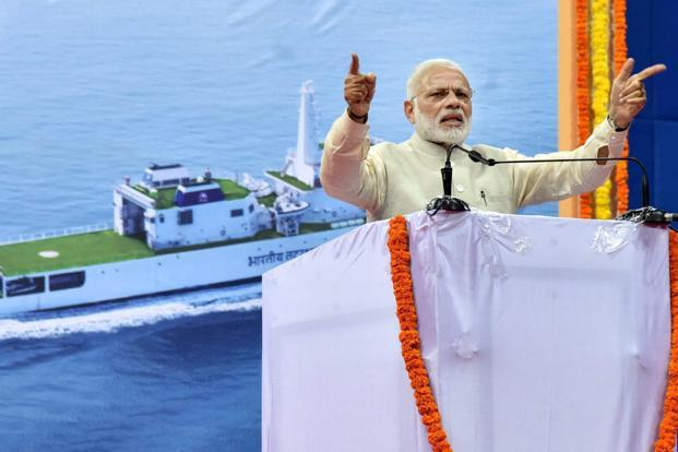 Prime Minister Narendra Modi addressing a gathering during the foundation stone laying ceremony of Greenfield Airport at Mopa in Goa on Sunday. Photo: PTI